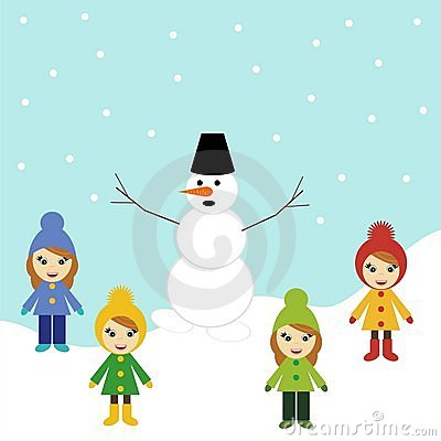 Snowman and four girls