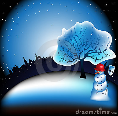 Snowman in front of a tree