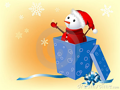 Snowman in gift box