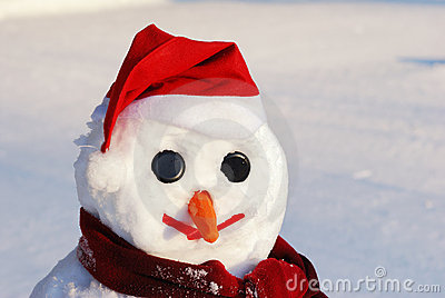 Snowman with hat, carrot nose