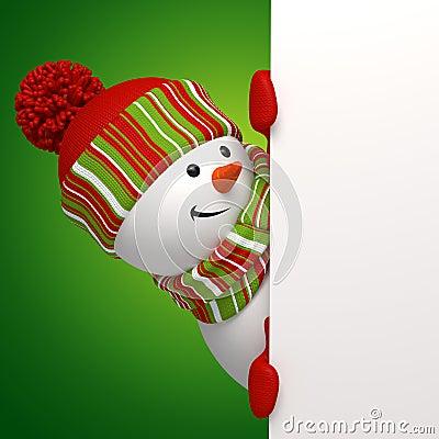 Snowman holding banner