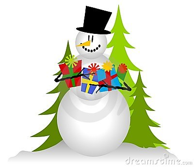 Snowman Holding Christmas Gifts 2