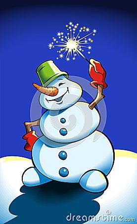 Snowman holding sparkler