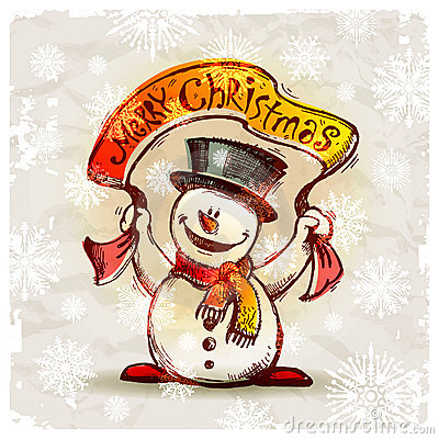Snowman with holiday banner