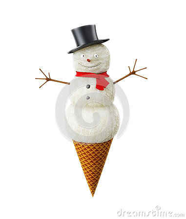 Snowman in an ice cone