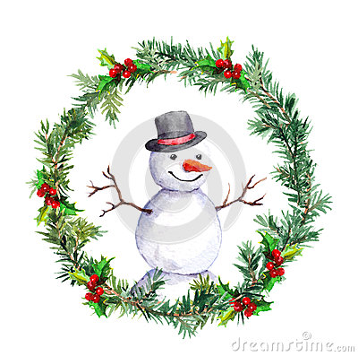 Free Snowman In Christmas Wreath With Fir Tree Branches. Watercolor Royalty Free Stock Image - 78946796