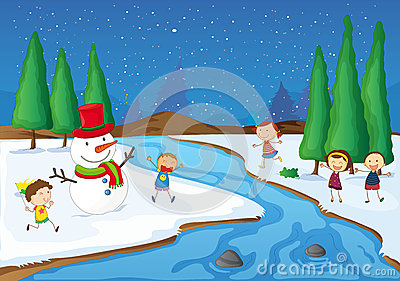 A snowman, kids near river