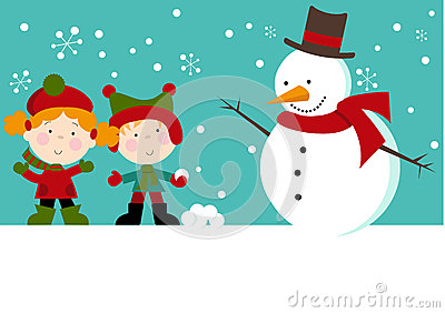 Snowman with Kids in Snow