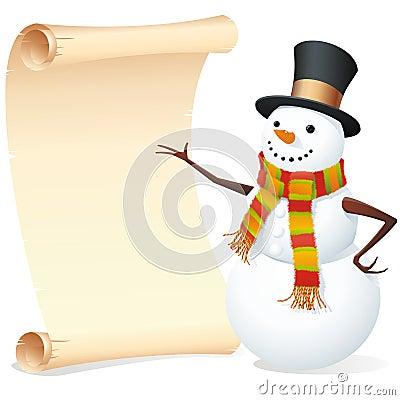 Snowman with list