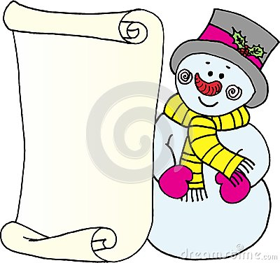 Snowman - Message Letter For Santa Claus Royalty Free Stock Images ...