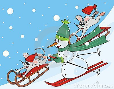 Snowman and mice