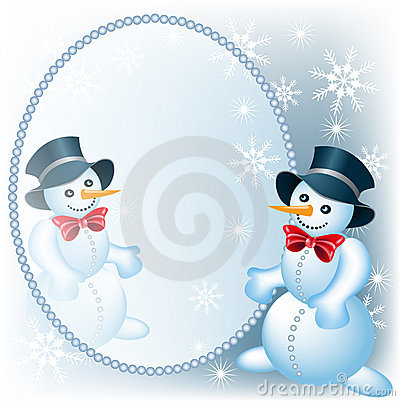 Snowman and mirror