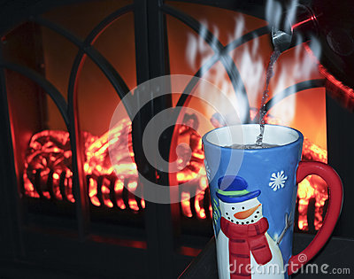 Image result for image of hot cocoa near a fire