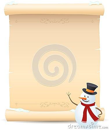 Snowman And Parchment Sign