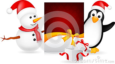 Snowman and penguin with christmas card