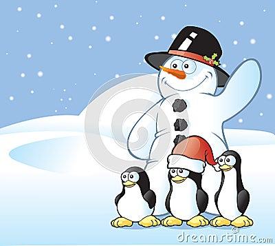 Snowman & Penguin Postcard