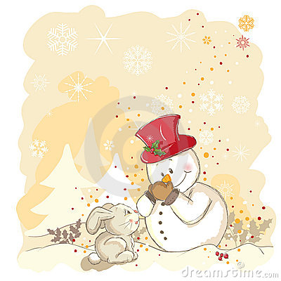 Snowman protecting his nose