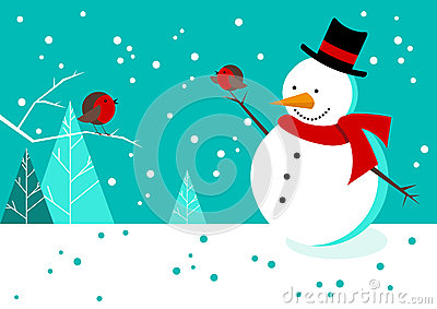 Snowman and Robins