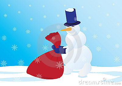 Snowman with a sack of gifts