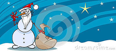 Snowman santa with sack greeting card