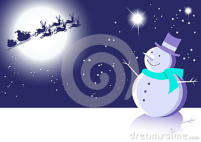 Snowman and Santa Winter Scene Blue