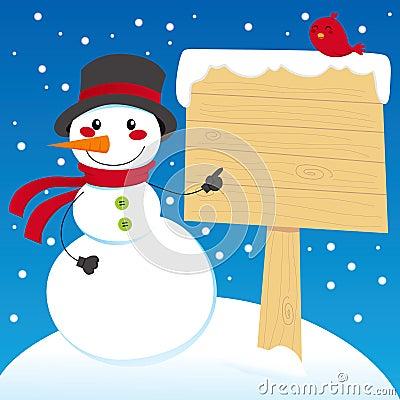 Snowman Sign Post