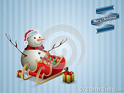 Snowman and sleigh postcard