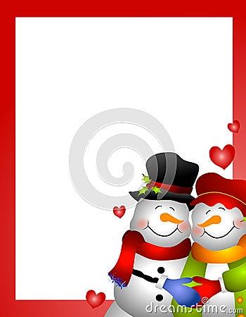 Snowman Snow Woman Couple Border