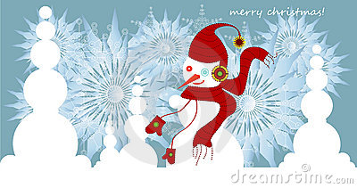 Snowman and snowflakes on christmas card