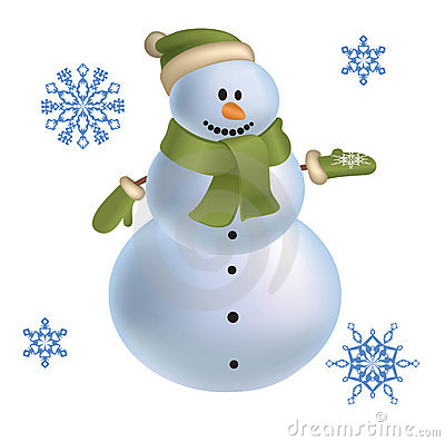 Snowman with snowflakes vector 2012