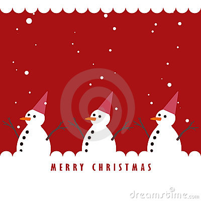 Snowman and the snowing on red background