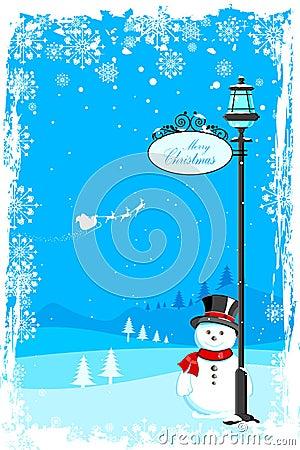 Snowman under lamp post