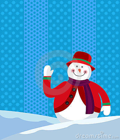 A snowman waving happily