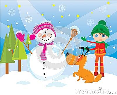 Snowman in a winter