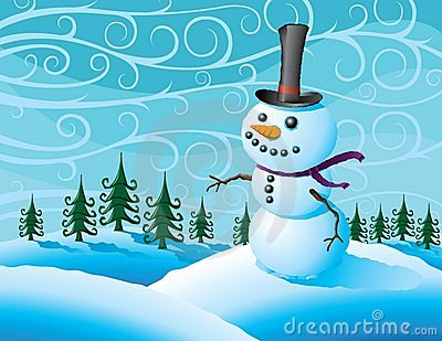 Snowman in a winter storm