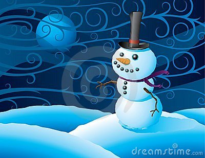 Snowman in a winter storm