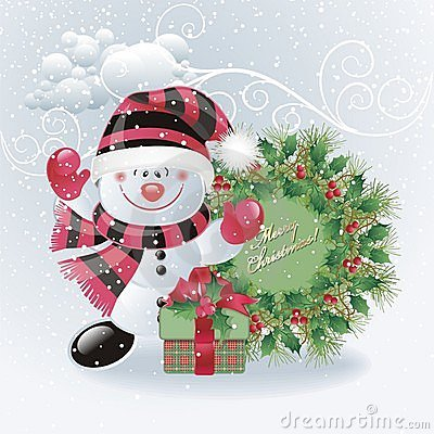 Free Snowman With Christmas Wreath Royalty Free Stock Image - 11844906