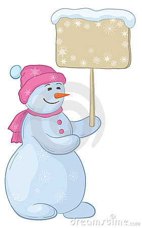 Snowman woman with sign