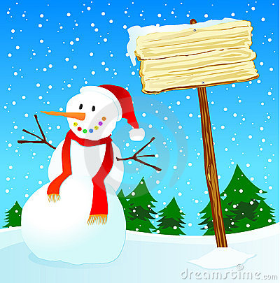 Snowman and wooden sign customizable
