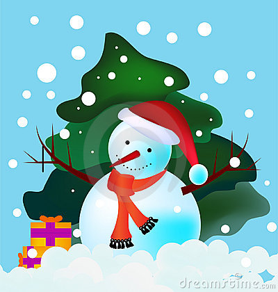 Snowman in woods