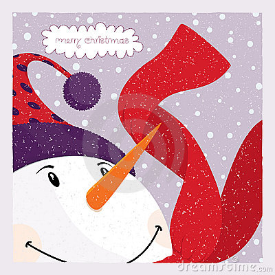 Free Snowman_card Stock Photography - 18662502