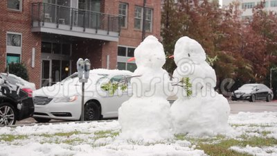 Snowman in Downtown Baton Rouge stock footage