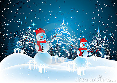 Snowmen in Christmas landscape