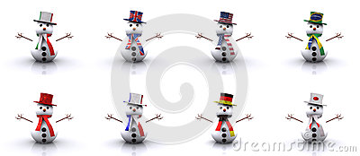Snowmen of different Countries 3D