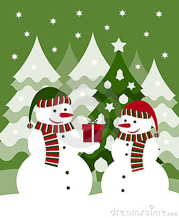 Snowmen and gift