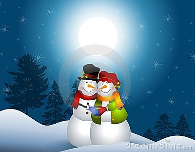 Snowmen Hugging in Snow