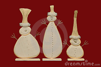 Snowmen on a red background