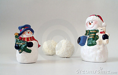 Snowmen and snowballs on white, christmas card