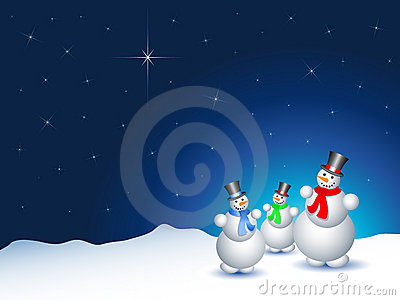 Snowmen on a snowy night