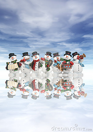 Free Snowmen With Musical Instruments Royalty Free Stock Photography - 1987077